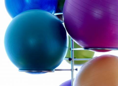 Blue Exercising Ball on Stainless Steel Exercising Ball Rack #39594