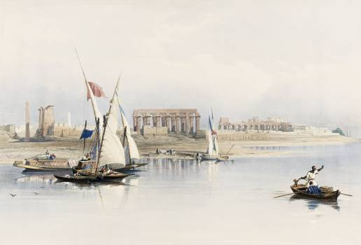 General view of the ruins of Luxor from the Nile illustration by David Roberts (1796–1864). Original from The New York Public Library.  Free Photo