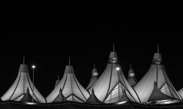 Denver International Airport's peaked roof, outside Denver, Colorado, designed by Fentress Bradburn Architects.Original image from Carol M. Highsmith's America, Library of Congress collection. Digitally enhanced by avopix #396000