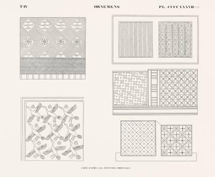 Ornaments copied from the original paintings from Monuments de l'Égypte et de la Nubie (1835–1845) by Jean François Champollion (1790–1832). Original from The New York Public Library.  #396202