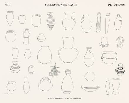 Collection of vases from the paintings or originals from Monuments de l'Égypte et de la Nubie (1835–1845) by Jean François Champollion (1790–1832). Original from The New York Public Library.  #396215