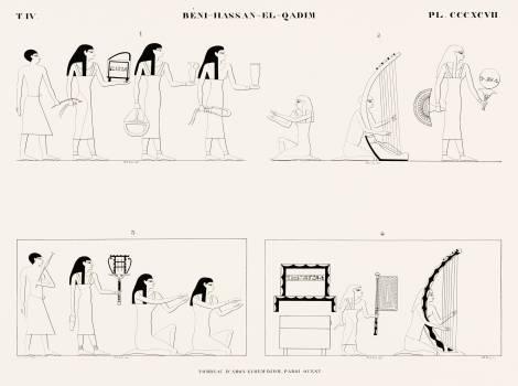 Tomb of Amon-ei-hem-djom, west wall from Monuments de l'Égypte et de la Nubie (1835–1845) by Jean François Champollion (1790–1832). Original from The New York Public Library.  #396231