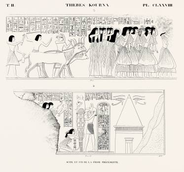Continuation and end of the previous frieze from Monuments de l'Égypte et de la Nubie (1835–1845) by Jean François Champollion (1790–1832). Original from The New York Public Library.  Free Photo