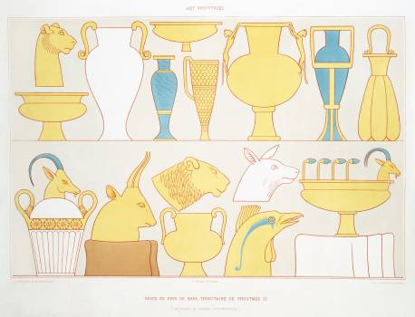 Vases of the land of Kafa, tribute of Tuthmosis III from Histoire de l'art égyptien (1878) by Émile Prisse d'Avennes. Original from The New York Public Library.  #396311