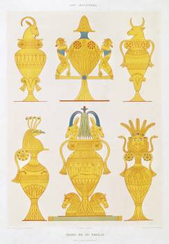 Enamelled gold vases from Histoire de l'art égyptien (1878) by Émile Prisse d'Avennes. Original from The New York Public Library.  #396314
