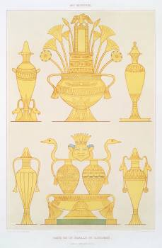 Enamelled or cloisonné gold vases from Histoire de l'art égyptien (1878) by Émile Prisse d'Avennes. Original from The New York Public Library.  #396331