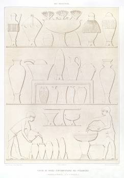 Various of contemporary vases in the pyramids from Histoire de l'art égyptien (1878) by Émile Prisse d'Avennes. Original from The New York Public Library.  #396335