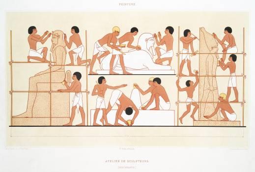 Sculptors worker from Histoire de l'art égyptien (1878) by Émile Prisse d'Avennes. Original from The New York Public Library.  #396349
