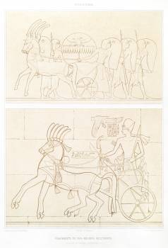 Fragments of military bas-reliefs from Histoire de l'art égyptien (1878) by Émile Prisse d'Avennes. Original from The New York Public Library.  Free Photo
