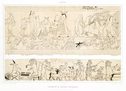 Fragments of satirical papyrus from Histoire de l'art égyptien (1878) by Émile Prisse d'Avennes. Original from The New York Public Library.  #396388