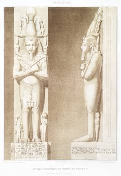 Pillars-caryatids of the Temple of Ramses III from Histoire de l'art égyptien (1878) by Émile Prisse d'Avennes. Original from The New York Public Library.  Free Photo