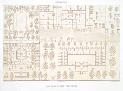 Rider plan of a Royal Villa from Histoire de l'art égyptien (1878) by Émile Prisse d'Avennes. Original from The New York Public Library.  #396409