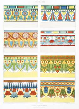 Flowery friezes, painted in the tombs from Histoire de l'art égyptien (1878) by Émile Prisse d'Avennes. Original from The New York Public Library.  #396411