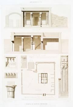 Deir el-Medina Temple (plan, sections and details) from Histoire de l'art égyptien (1878) by Émile Prisse d'Avennes. Original from The New York Public Library.  #396420