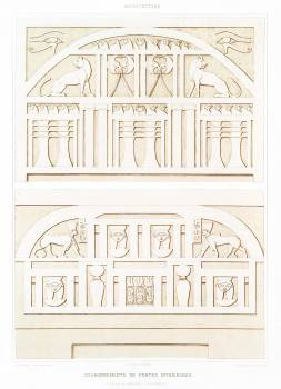 Coronations of interior doors (Thebes & Sedeinga) from Histoire de l'art égyptien (1878) by Émile Prisse d'Avennes. Original from The New York Public Library.  Free Photo