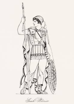 Greek warrior from An illustration of the Egyptian, Grecian and Roman costumes by Thomas Baxter (1782–1821). Original from New York public library.  #396486