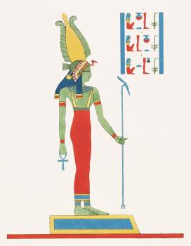 Wadjet illustration from Pantheon Egyptien (1823-1825) by Leon Jean Joseph Dubois (1780-1846). Original from The New York Public Library.  Free Photo