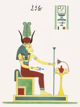 Hathor illustration from Pantheon Egyptien (1823-1825) by Leon Jean Joseph Dubois (1780-1846). Original from The New York Public Library.  #396526