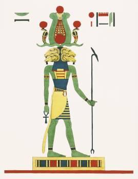 Amon, Amon-ra illustration from Pantheon Egyptien (1823-1825) by Leon Jean Joseph Dubois (1780-1846). Original from The New York Public Library.  Free Photo