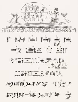 Atum, Hieroglyphics text illustration from Pantheon Egyptien (1823-1825) by Leon Jean Joseph Dubois (1780-1846).  Original from The New York Public Library.  Free Photo