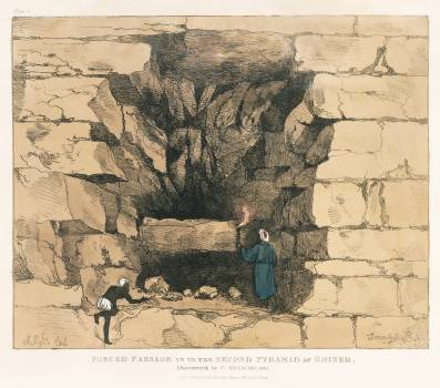 Plate 11 : False Passage towards the centre of the Pyramid by Giovanni Battista Belzoni (1778-1823) from Plates illustrative of the researches and operations in Egypt and Nubia (1820). Original from New York public library.  #396645