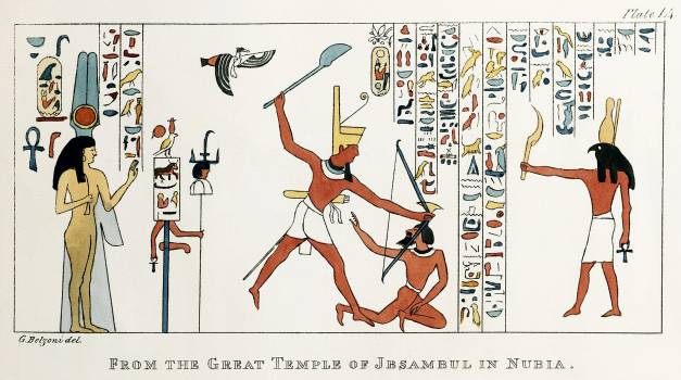 Plate 14 : Group from the interior of the northern Temple of Ybsambul illustration from the kings tombs in Thebes by Giovanni Battista Belzoni (1778-1823) from Plates illustrative of the researches and operations in Egypt and Nubia (1820). Original from T #396650