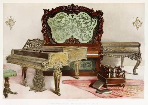 Pianofortes from the Industrial arts of the Nineteenth Century (1851-1853) by Sir Matthew Digby wyatt (1820-1877). #397218