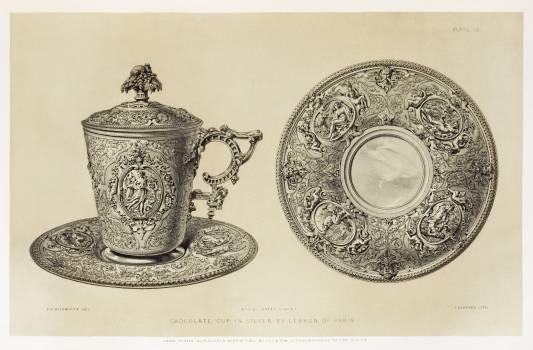 Chocolate cup in silver from the Industrial arts of the Nineteenth Century (1851-1853) by Sir Matthew Digby wyatt (1820-1877). Free Photo
