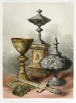 Group of objects enriched with damascening from the Industrial arts of the Nineteenth Century (1851-1853) by Sir Matthew Digby wyatt (1820-1877). #397295
