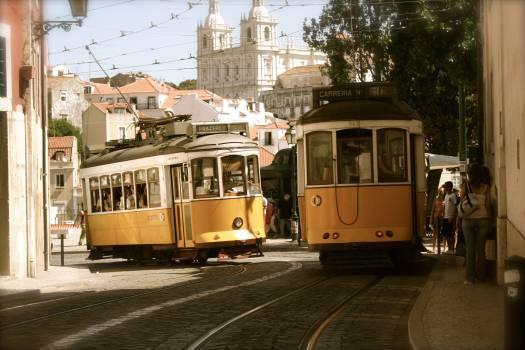 Lisbon trolleys trams street Free Photo