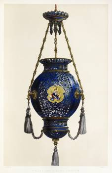 Pendant lamp in Sevres porcelain from the Industrial arts of the Nineteenth Century (1851-1853) by Sir Matthew Digby wyatt (1820-1877). #397345