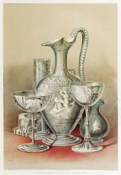Group of objects in glass from the Industrial arts of the Nineteenth Century (1851-1853) by Sir Matthew Digby wyatt (1820-1877). #397458