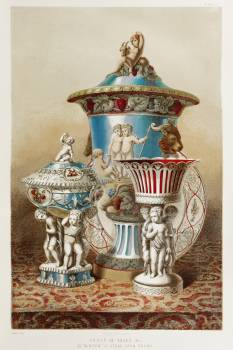 "Group of vases & c. by ""Minton"" of Stoke upon Trent from the Industrial arts of the Nineteenth Century (1851-1853) by Sir Matthew Digby wyatt (1820-1877). #397462"