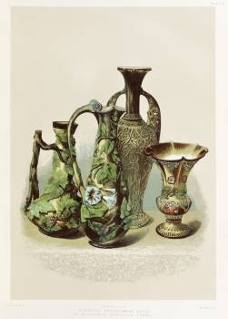 A group of earthenware vases by Mansard of Voisinlieu France from the Industrial arts of the Nineteenth Century (1851-1853) by Sir Matthew Digby wyatt (1820-1877). #397468