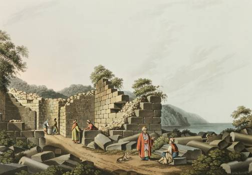 Ruins of an ancient Temple in Samos from Views in the Ottoman Dominions, in Europe, in Asia, and some of the Mediterranean islands (1810) illustrated by Luigi Mayer (1755-1803). Free Photo