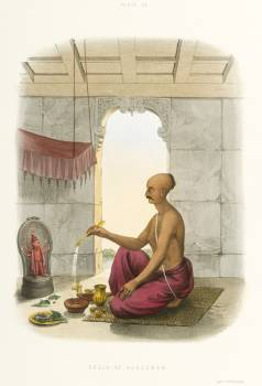Pooja to Hunooman from The Sundhya or the Daily Prayers of the Brahmins (1851) by Sophie Charlotte Belnos (1795–1865). #397585