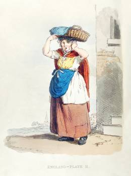 Illustration of a Billinsgate fish-woman from Picturesque Representations of the Dress and Manners of the English(1814) by William Alexander (1767-1816). Original from New York public library.  Free Photo