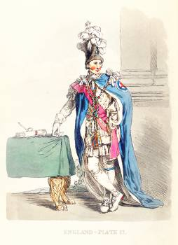 Illustration of a knight of the Garter from Picturesque Representations of the Dress and Manners of the English(1814) by William Alexander (1767-1816). Original from The New York Public Library.  #397736