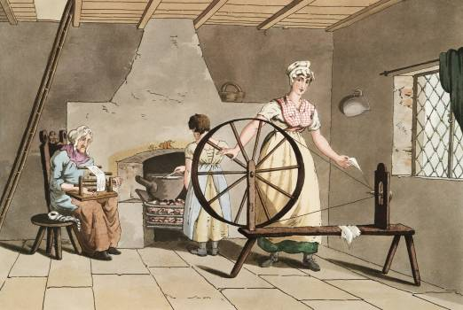 Illustration of woman spinning from The Costume of Yorkshire (1814) by George Walker (1781-1856). Original from The New York Public Library.  #397808