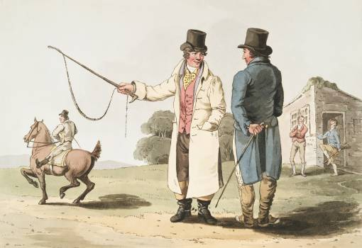 Illustration of the horse dealer from The Costume of Yorkshire (1814) by George Walker (1781-1856). Original from The New York Public Library.  Free Photo