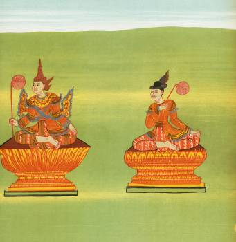 7. King Tarabya of Ava (Mintárá nat) and 8. Receiver of the royal voice (Thandawgán nat) from The thirty-seven nats : a phase of spirit worship prevailing in Burma (1906) by William Griggs (1832-1911). Original from The New York Publi Free Photo