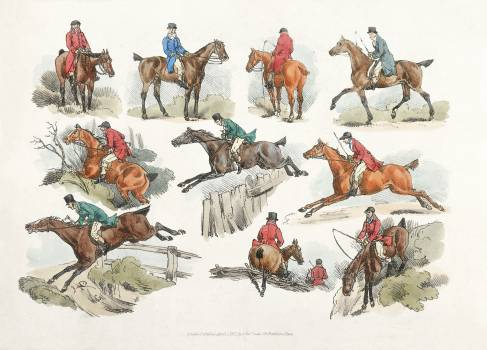 Illustration of mounted sportsmen from Sporting Sketches (1817-1818) by Henry Alken (1784-1851). Original from The New York Public Library.  #398092
