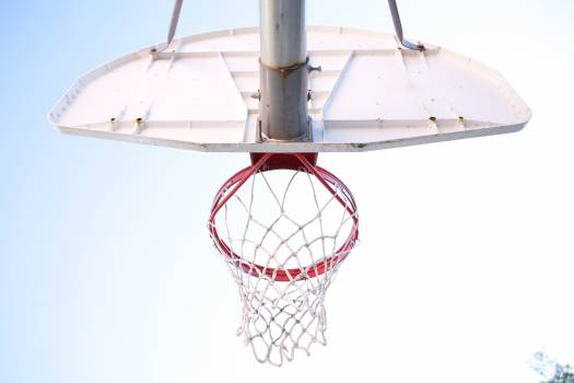 Ground View of Red and White Basketball Hoop Free Photo