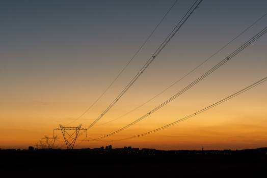 Power line at sunset - free stock photo #398904