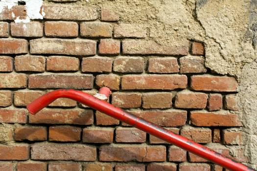 Old Brick Wall With Red Handrail - free stock photo #399056