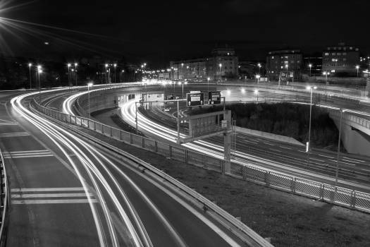 The Car Light Trails in the City - free stock photo Free Photo