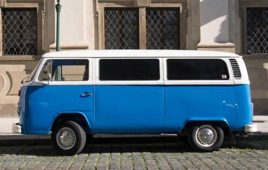 Blue Volkswagen Bus T2 Transporter - free stock photo #399440