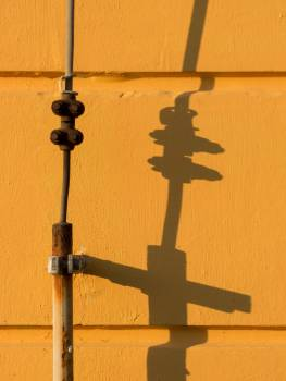 Lightning Rod Shadow On Yellow Wall - free stock photo #399447