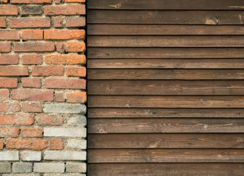 Brick Wall And Wooden Fence - free stock photo #399549