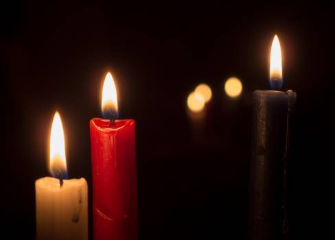 Three Candles On A Black Background - free stock photo #399648